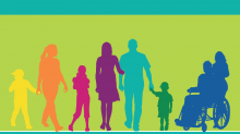 Coloured carers silhouette image